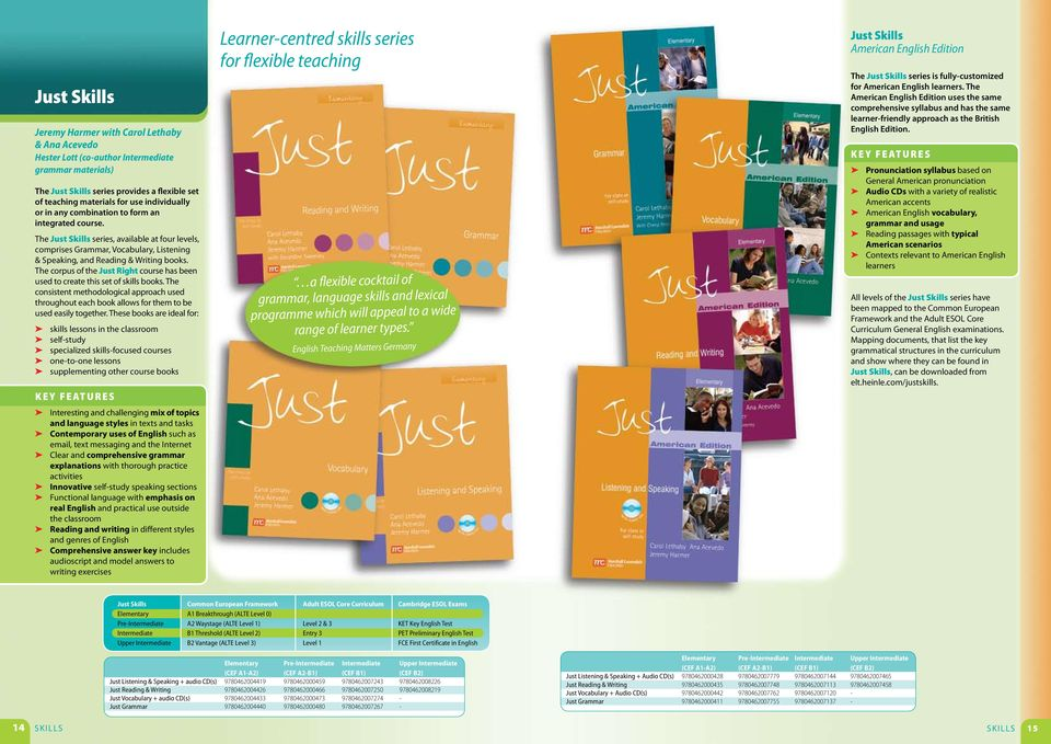 The corpus of the Just Right course has been used to create this set of skills books. The consistent methodological approach used throughout each book allows for them to be used easily together.