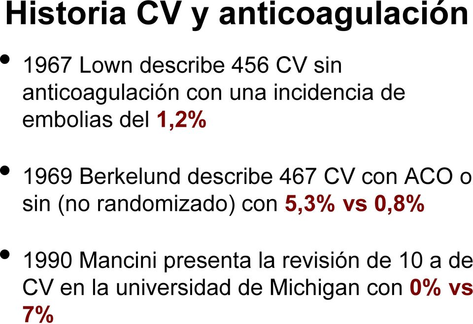 describe 467 CV con ACO o sin (no randomizado) con 5,3% vs 0,8% 1990