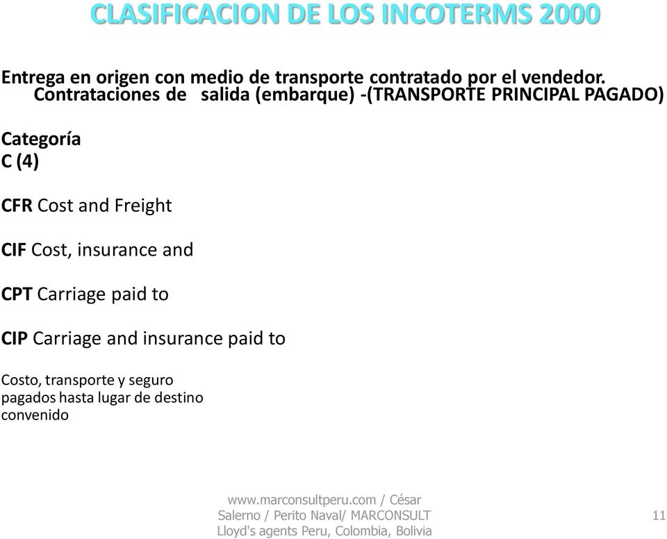 insurance and CPT Carriage paid to CIP Carriage and insurance paid to Costo, transporte y seguro pagados hasta lugar