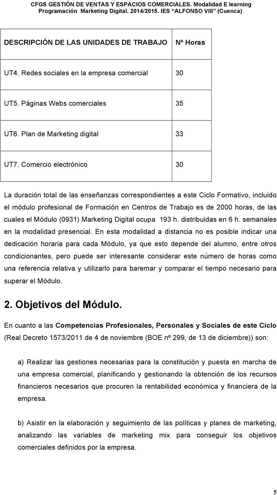 el Módulo (0931) Marketing Digital ocupa 193 h. distribuidas en 6 h. semanales en la modalidad presencial.