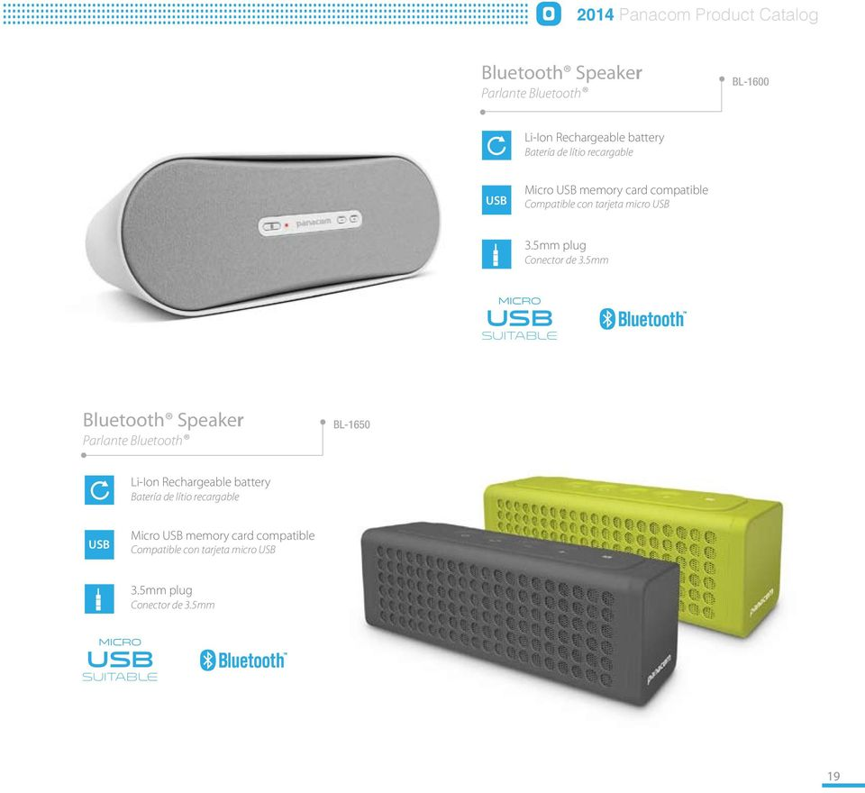 5mm micro usb suitable Bluetooth Speaker Parlante Bluetooth BL-1650 Li-Ion Rechargeable battery Batería de 5mm micro