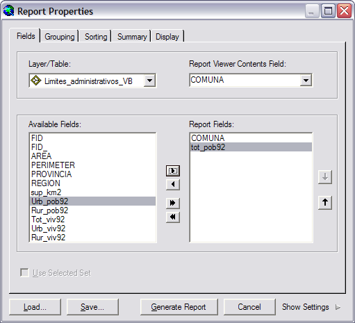 Para agregar un reporte a un layout: 1. Abrir 03_Tutorial_02.mxd. 2. Click en Tools, Reports, Create Report. 3.