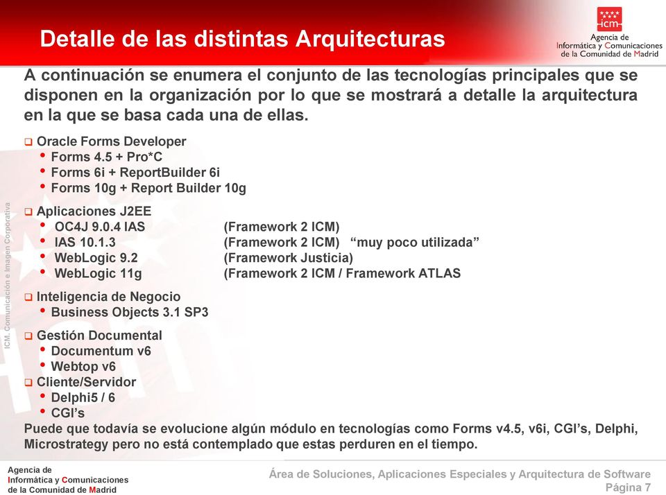 2 (Framework Justicia) WebLogic 11g (Framework 2 ICM / Framework ATLAS Inteligencia de Negocio Business Objects 3.