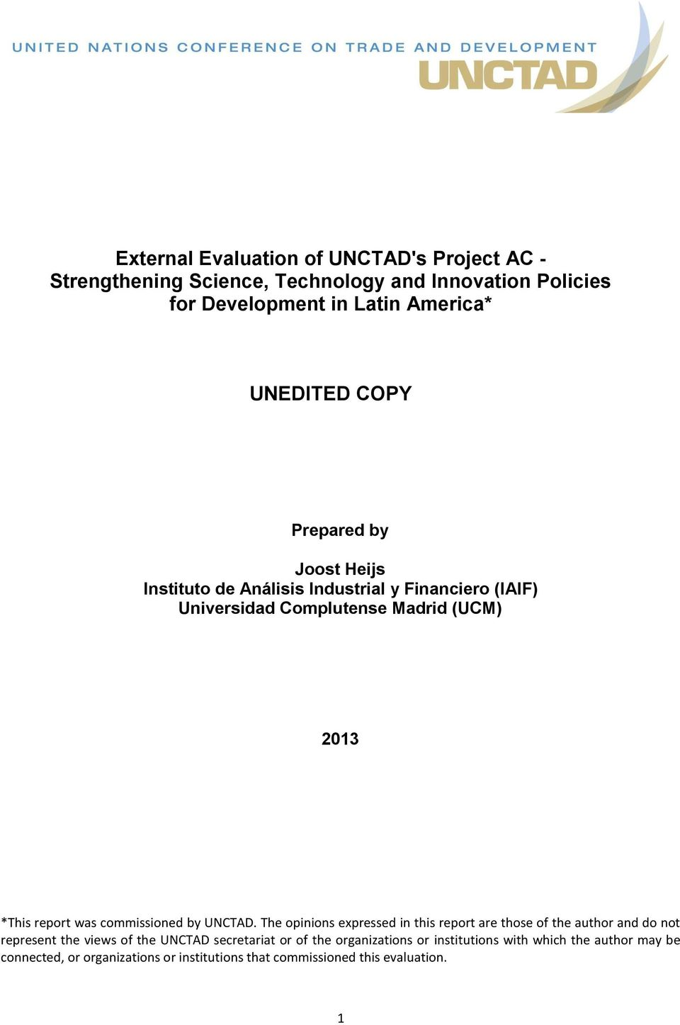 report was commissioned by UNCTAD.