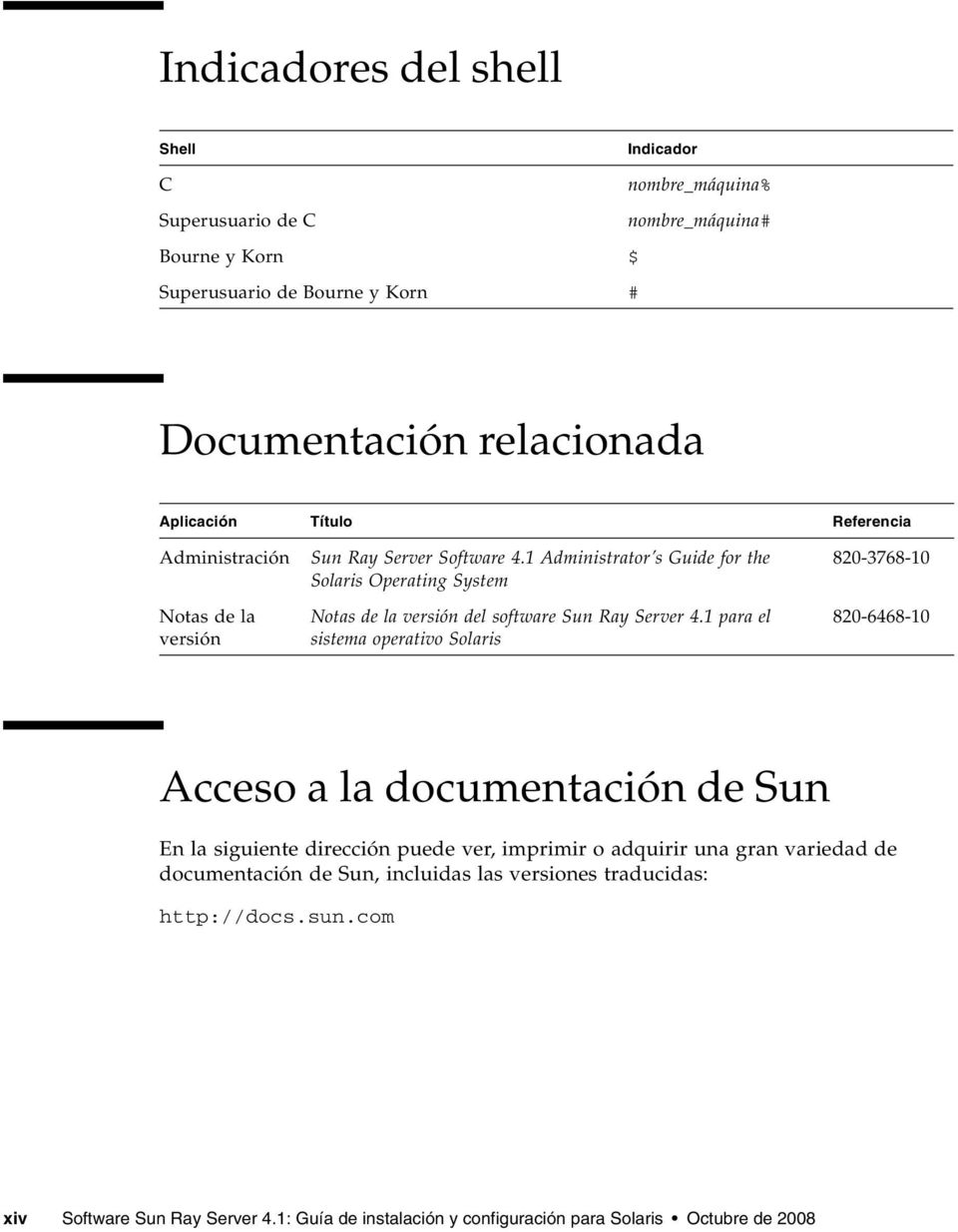 1 Administrator s Guide for the Solaris Operating System Notas de la versión del software Sun Ray Server 4.