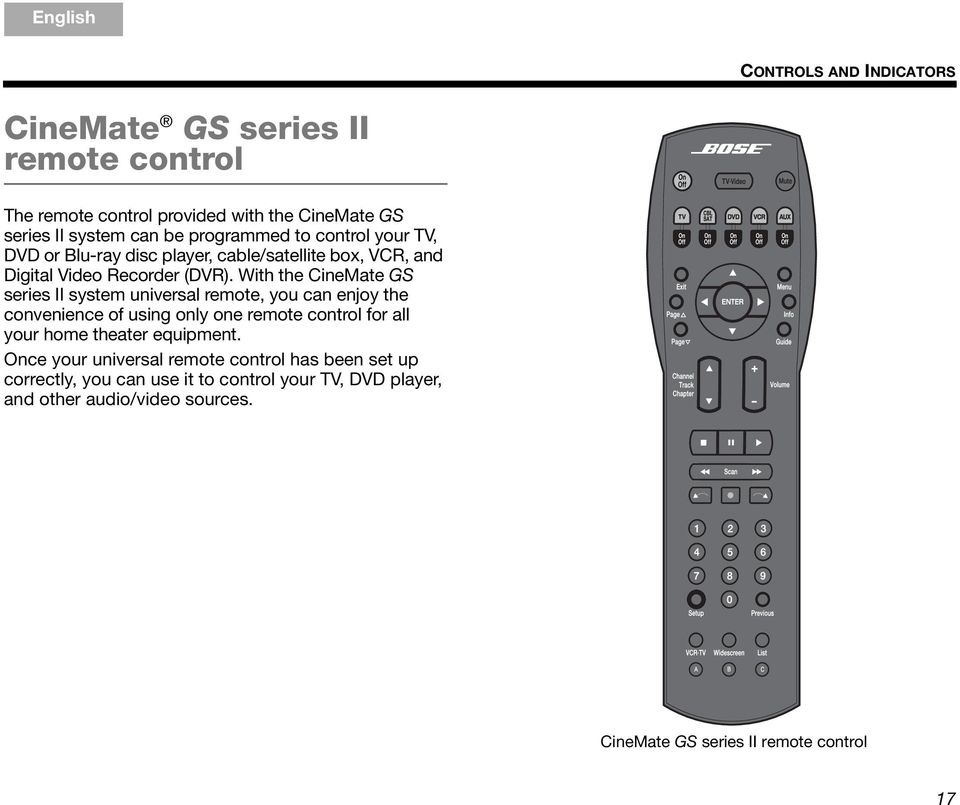 With the CineMate GS series II system universal remote, you can enjoy the convenience of using only one remote control for all your home theater equipment.