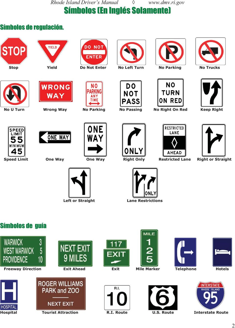 gov Símbolos (En Inglés Solamente) Stop Yield Do Not Enter No Left Turn No Parking No Trucks No U Turn Wrong Way No