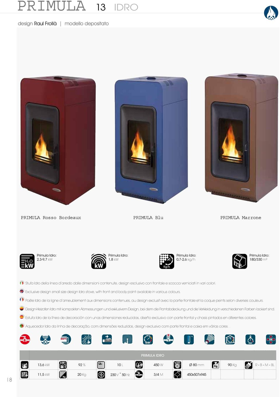 Exclusive design small size design Idro stove, with front and body paint available in various colours.