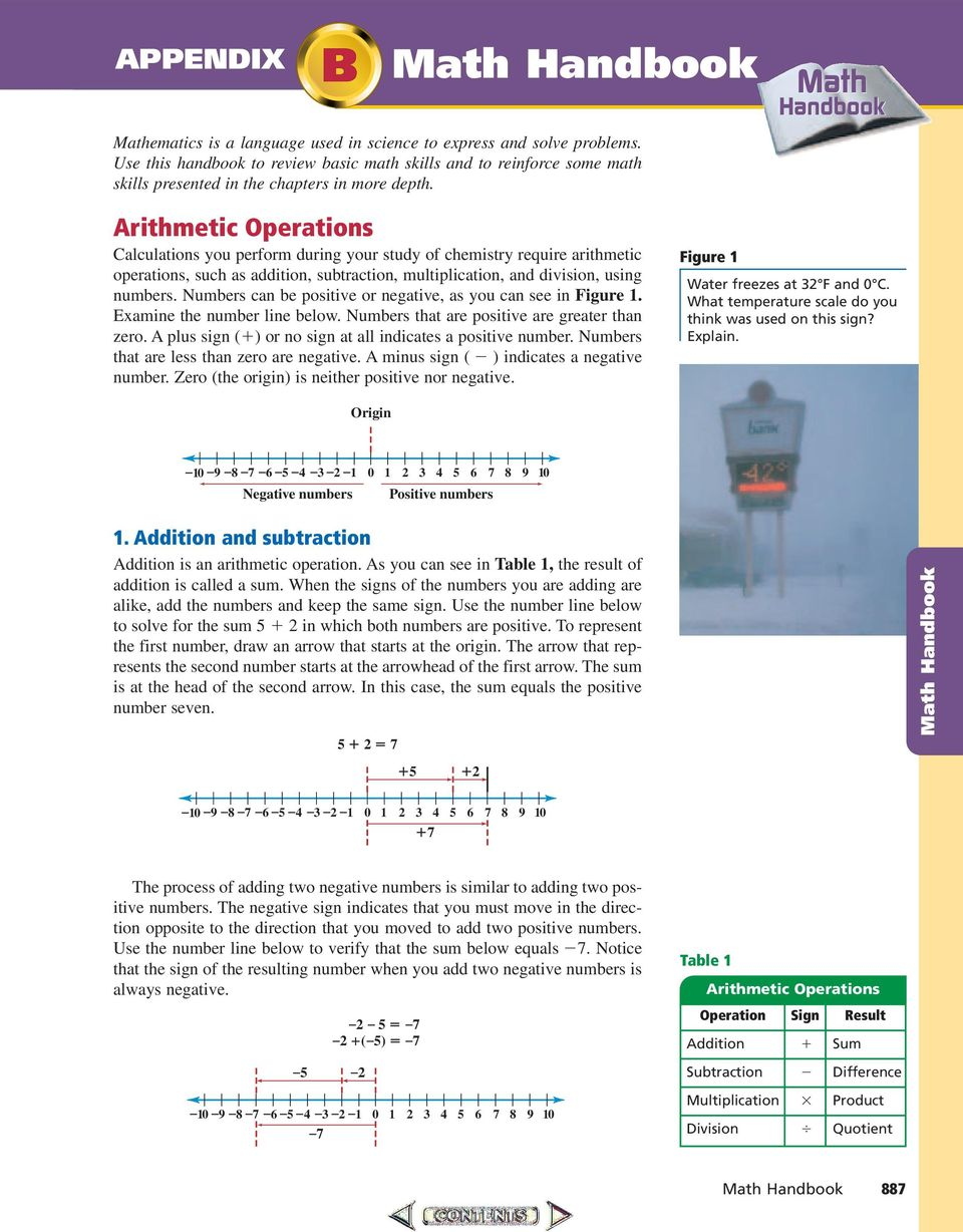 Math Handbook Arithmetic perations Calculations you perform during your study of chemistry require arithmetic operations, such as addition, subtraction, multiplication, and division, using numbers.