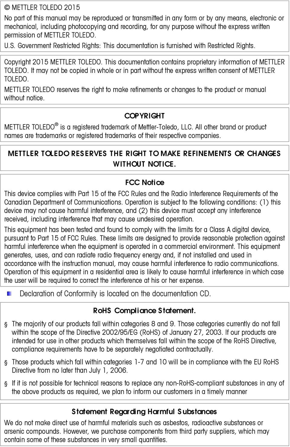This documentation contains proprietary information of METTLER TOLEDO. It may not be copied in whole or in part without the express written consent of METTLER TOLEDO.