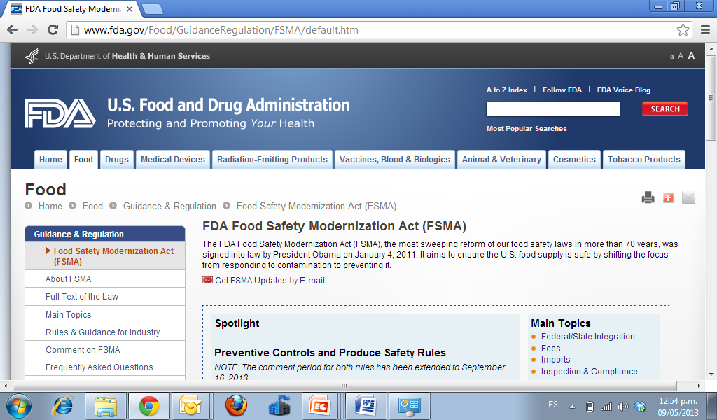 FOOD SAFETY MODERNIZATION ACT (FSMA) http://www.