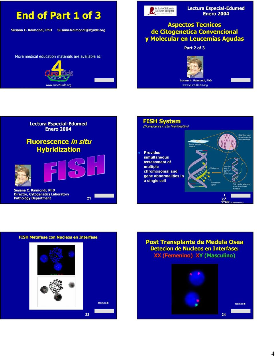 ,, PhD Lectura Especial- Fluorescence in situ Hybridization FISH System (Fluorescence in situ Hybridization) Provides simultaneous assessment of multiple chromosomal and gene