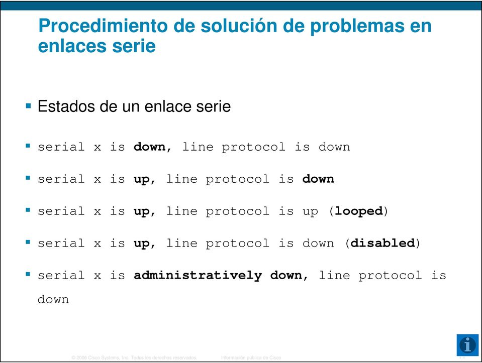 (looped) serial x is up, line protocol is down (disabled) serial x is administratively i ti down,