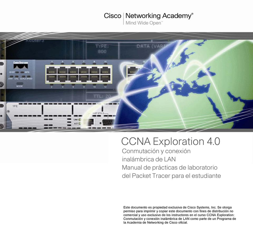 no comercial y uso exclusivo de los instructores en el curso CCNA Exploration: