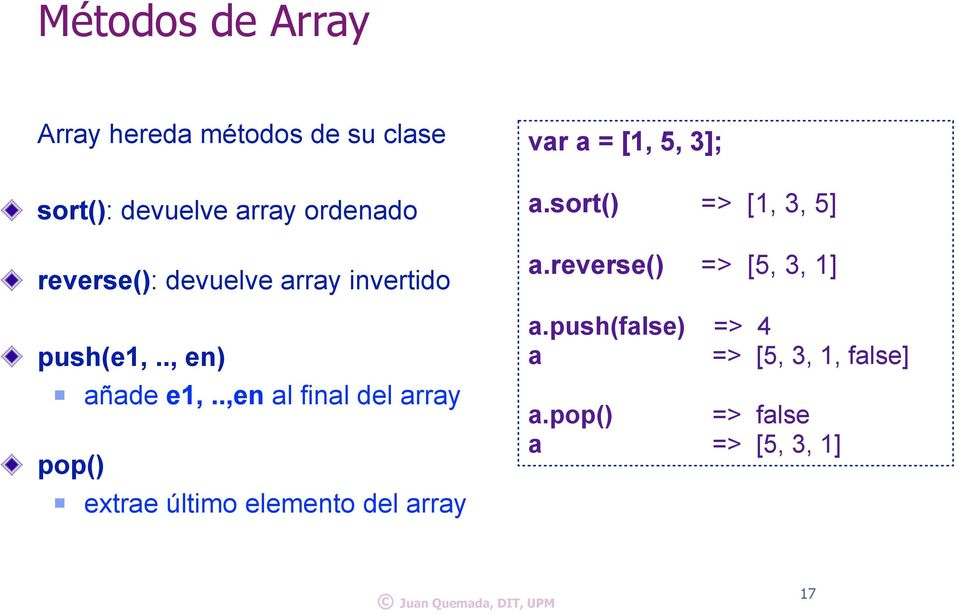 .,en al final del array pop() extrae último elemento del array var a = [1, 5, 3]; a.