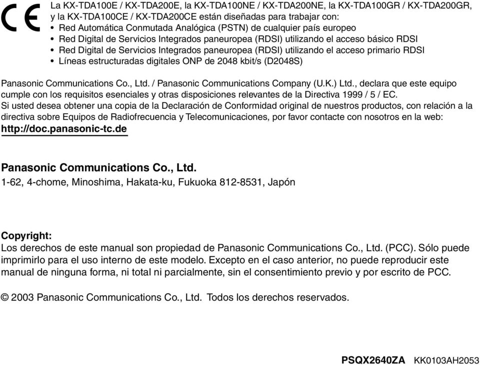 Líneas estructuradas digitales ONP de 2048 kbit/s (D2048S) Panasonic Communications Co., Ltd. / Panasonic Communications Company (U.K.) Ltd.