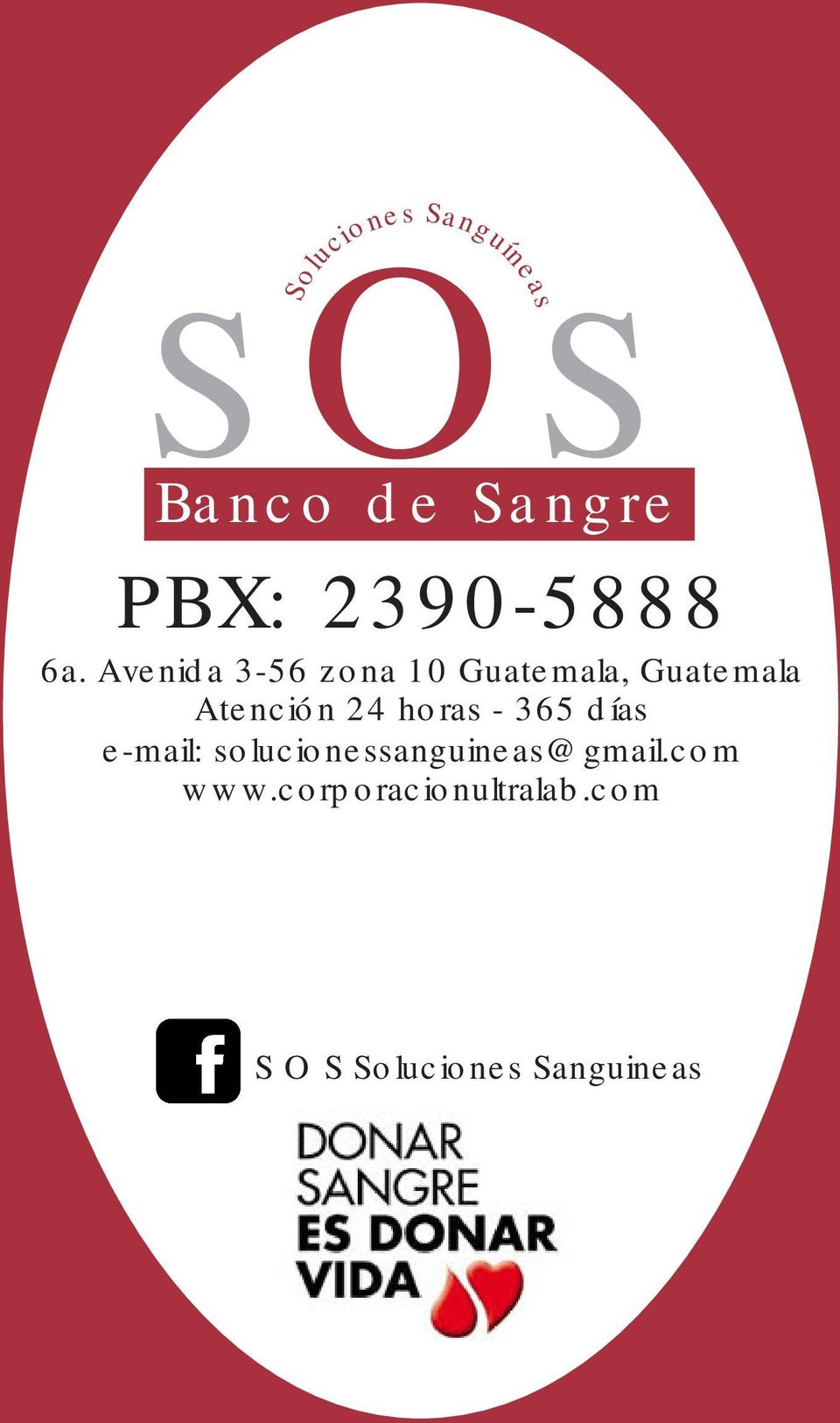 24 horas - 365 días e-mail: solucionessanguineas@gmail.