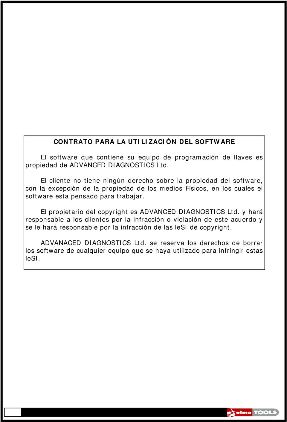 trabajar. El propietario del copyright es ADVANCED DIAGNOSTICS Ltd.