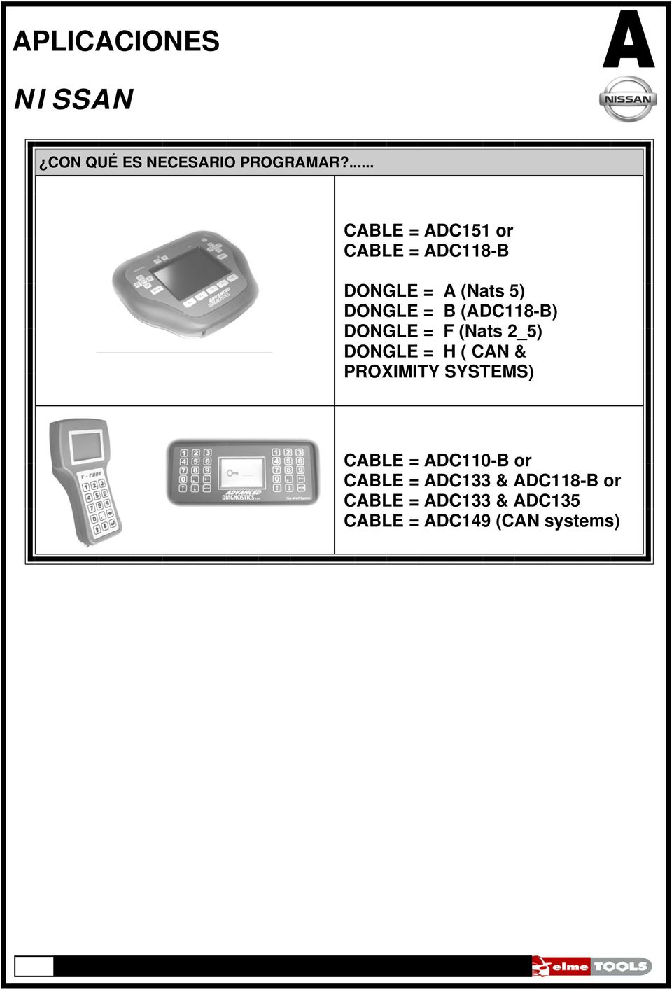 (ADC118-B) DONGLE = F (Nats 2_5) DONGLE = H ( CAN & PROXIMITY SYSTEMS)