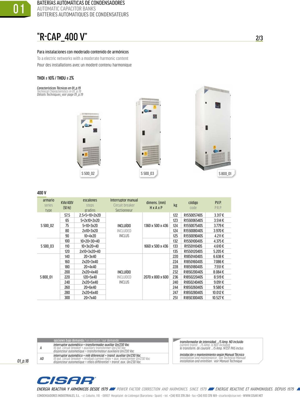 19 S 500_02 S 500_03 S 800_01 400 V S 500_02 S 500_03 S 800_01 KVAr/400V Interruptor manual Circuit breaker Sectionneur dimens. (mm) H x A x P kg 57,5 2,5+5+10+2x20 122 R155005740S 3.