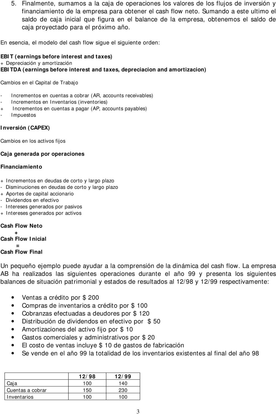 En esencia, el modelo del cash flow sigue el siguiente orden: EBIT (earnings before interest and taxes) + Depreciación y amortización EBITDA (earnings before interest and taxes, depreciacion and