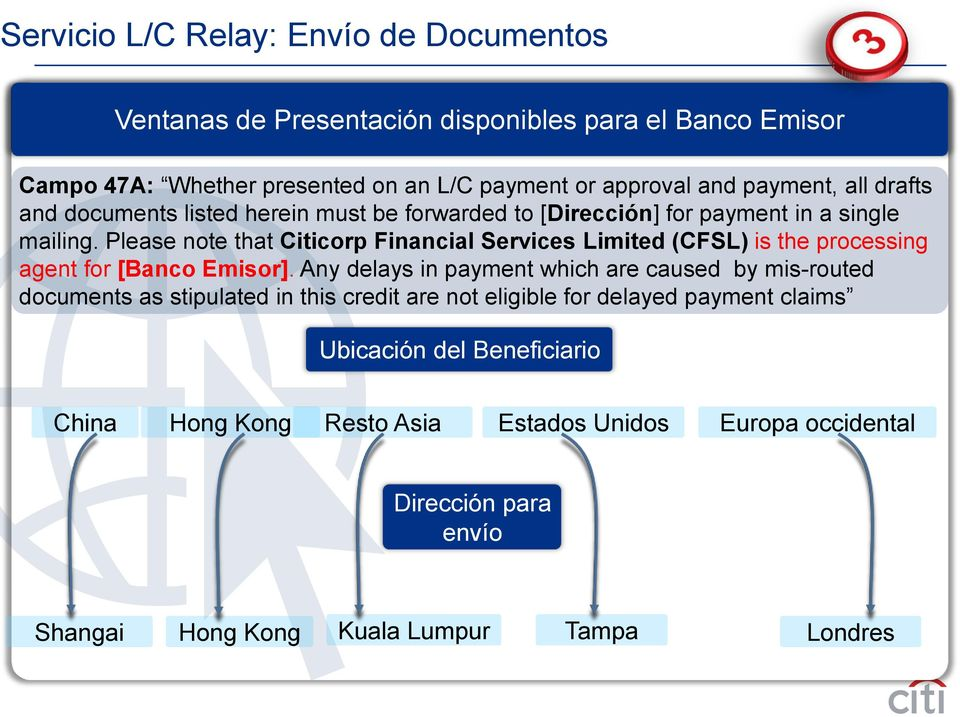 Please note that Citicorp Financial Services Limited (CFSL) is the processing agent for [Banco Emisor].