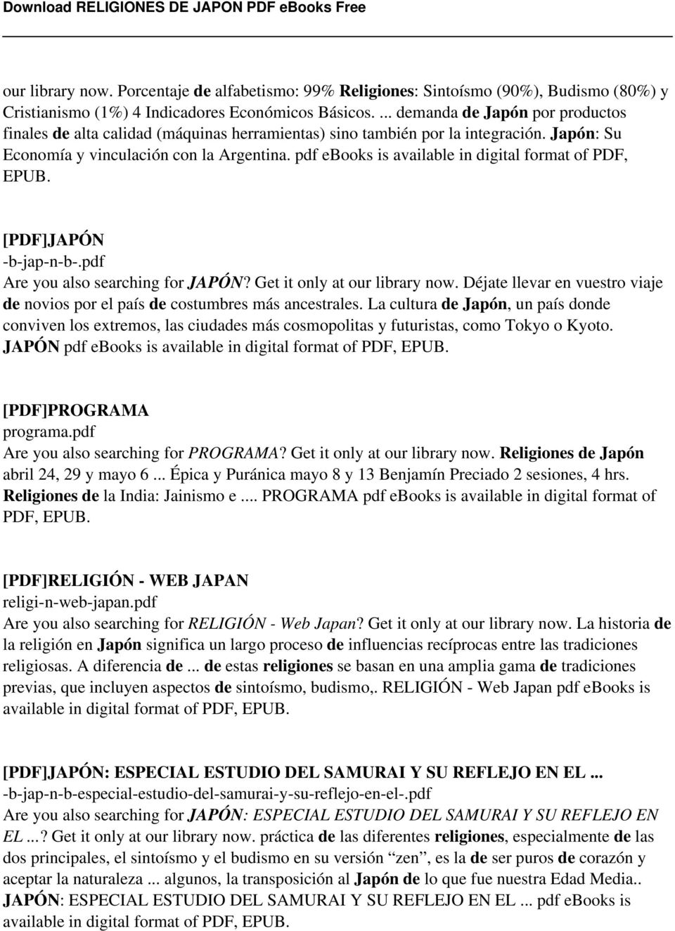 pdf ebooks is available in digital format of PDF, EPUB. [PDF]JAPÓN -b-jap-n-b-.pdf Are you also searching for JAPÓN? Get it only at our library now.