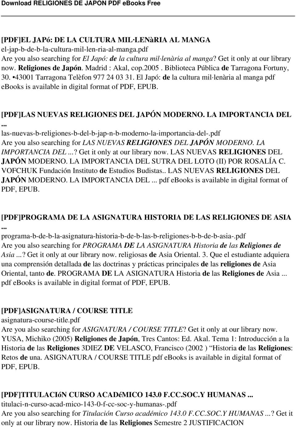 El Japó: de la cultura mil lenària al manga pdf ebooks is available in digital format of PDF, EPUB. [PDF]LAS NUEVAS RELIGIONES DEL JAPÓN MODERNO. LA IMPORTANCIA DEL.