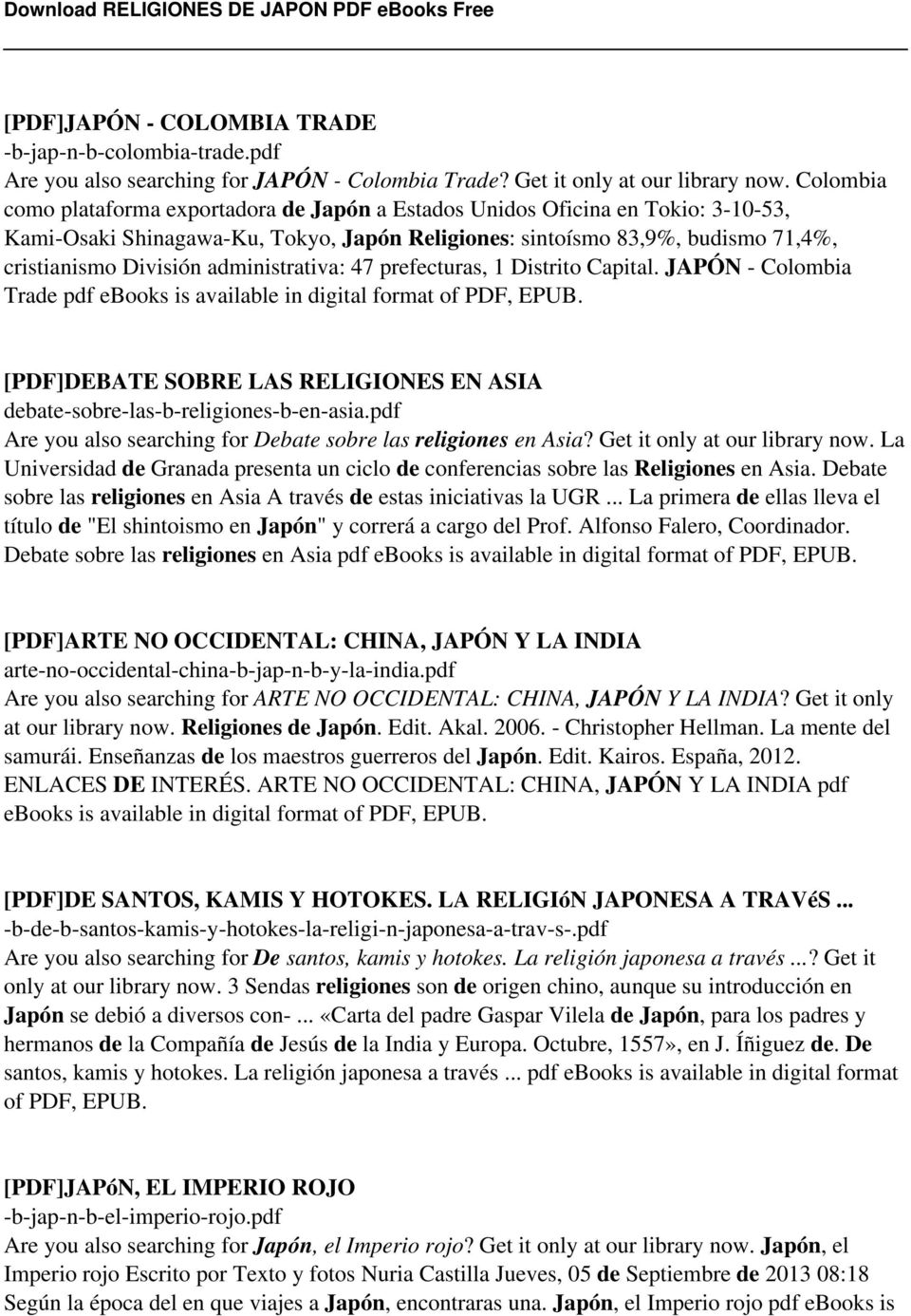 administrativa: 47 prefecturas, 1 Distrito Capital. JAPÓN - Colombia Trade pdf ebooks is available in digital format of PDF, EPUB.