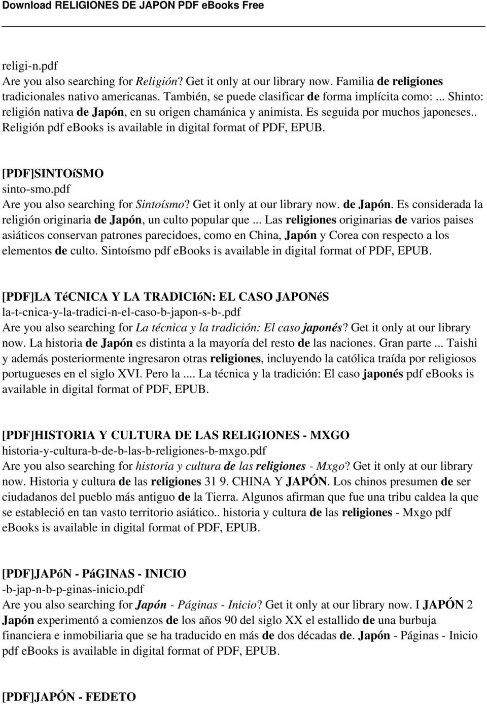 pdf Are you also searching for Sintoísmo? Get it only at our library now. de Japón. Es considerada la religión originaria de Japón, un culto popular que.