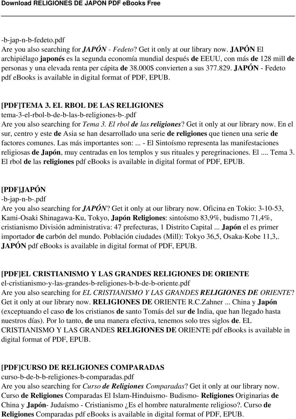 JAPÓN - Fedeto pdf ebooks is available in digital format of PDF, EPUB. [PDF]TEMA 3. EL RBOL DE LAS RELIGIONES tema-3-el-rbol-b-de-b-las-b-religiones-b-.pdf Are you also searching for Tema 3.