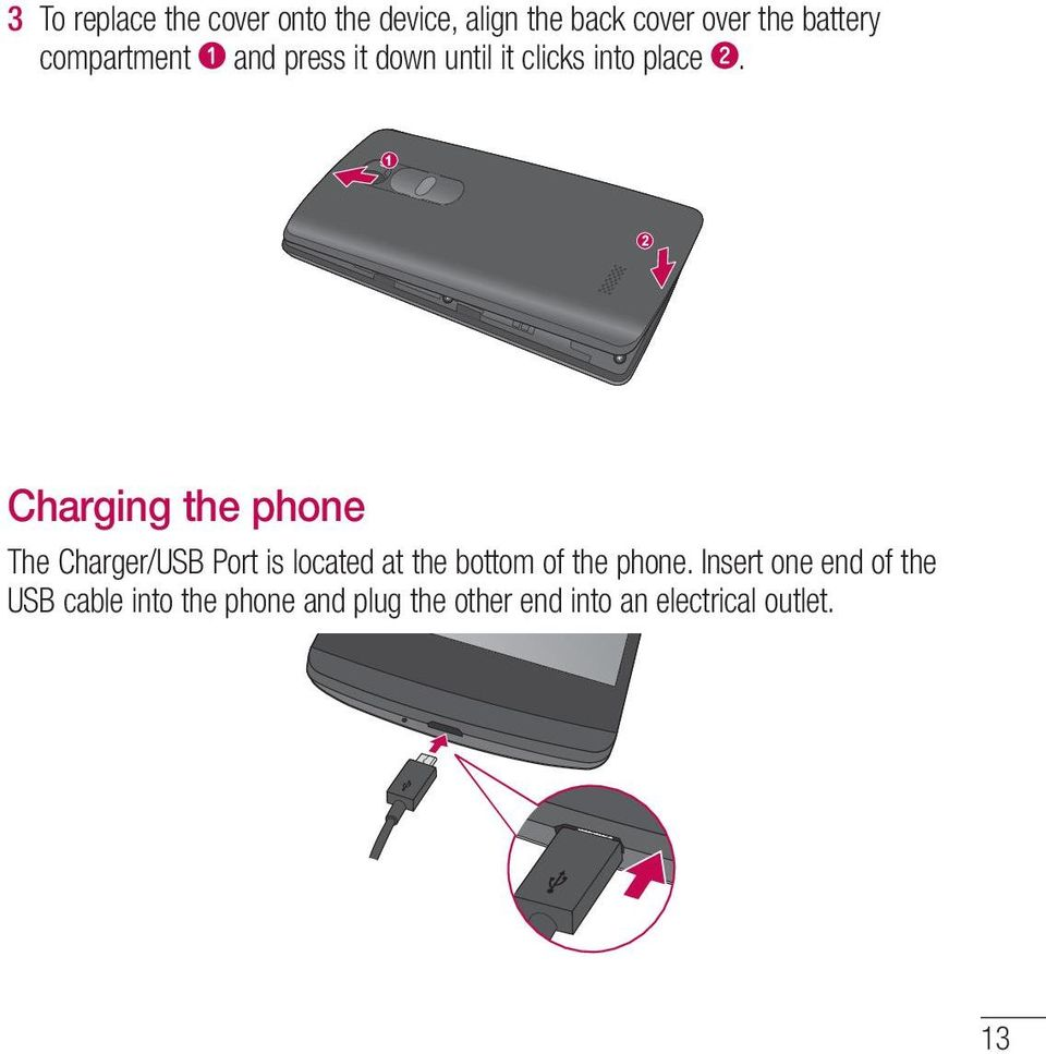 1 2 Charging the phone The Charger/USB Port is located at the bottom of the