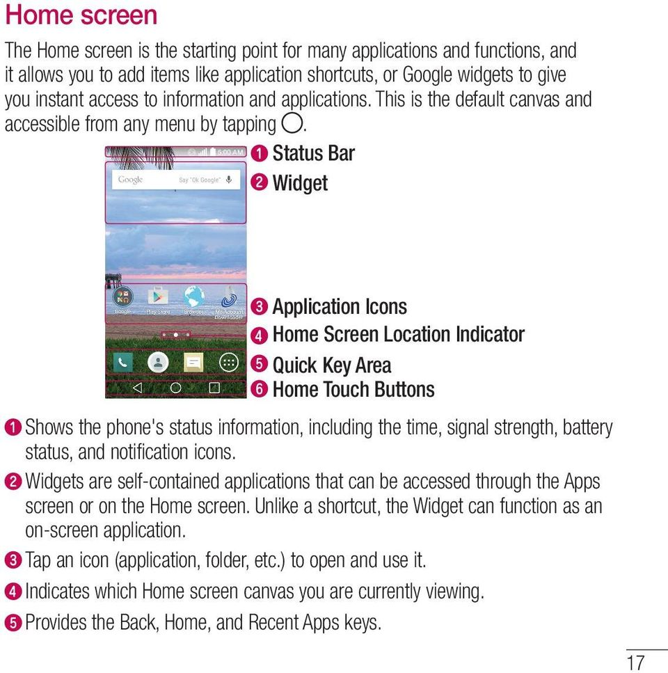 Status Bar Widget Application Icons Home Screen Location Indicator Quick Key Area Home Touch Buttons Shows the phone's status information, including the time, signal strength, battery status, and