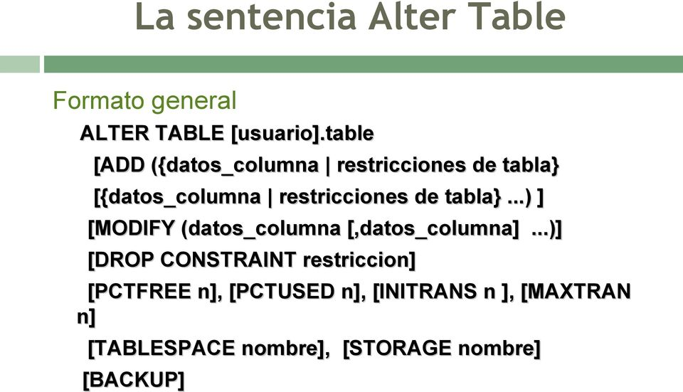 tabla}...) ] [MODIFY (datos_columna [,datos_columna].