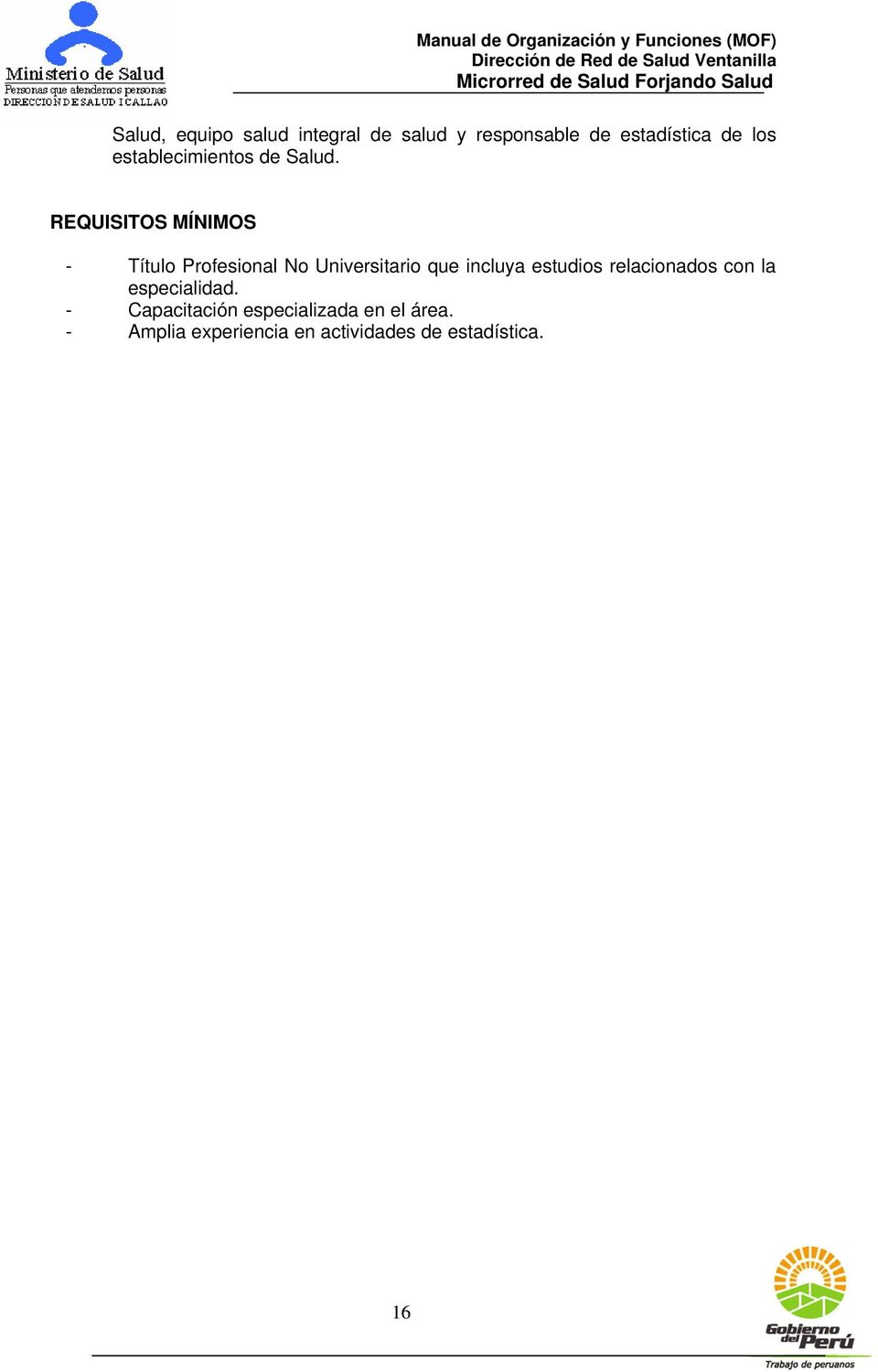 REQUISITOS MÍNIMOS - Título Profesional No Universitario que incluya