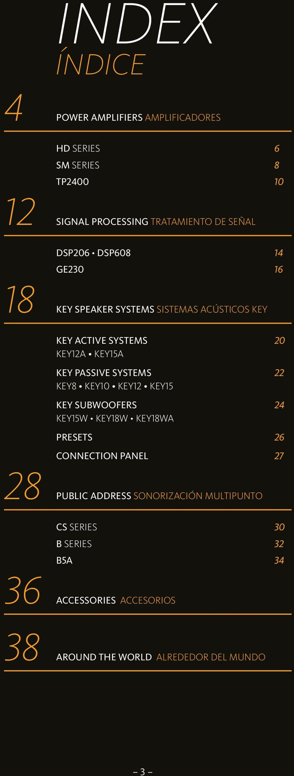 SYSTEMS 22 KEY8 KEY10 KEY12 KEY15 KEY SUBWOOFERS 24 KEY15W KEY18W KEY18WA PRESETS 26 28 PUBLIC 36 ACCESSORIES 38 AROUND