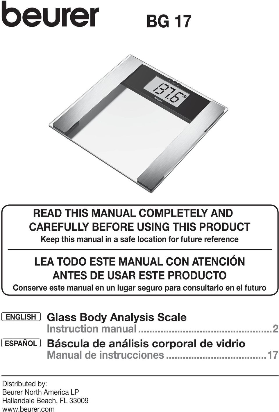 para consultarlo en el futuro ENGLISH Glass Body Analysis Scale Instruction manual.