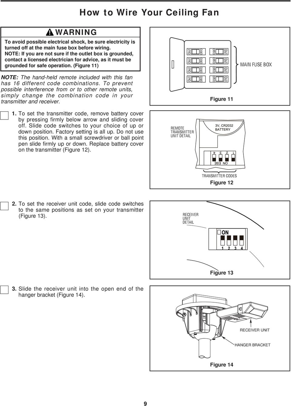(Figure 11) MAIN FUSE BOX NOTE: The hand-held remote included with this fan has 16 different code combinations.