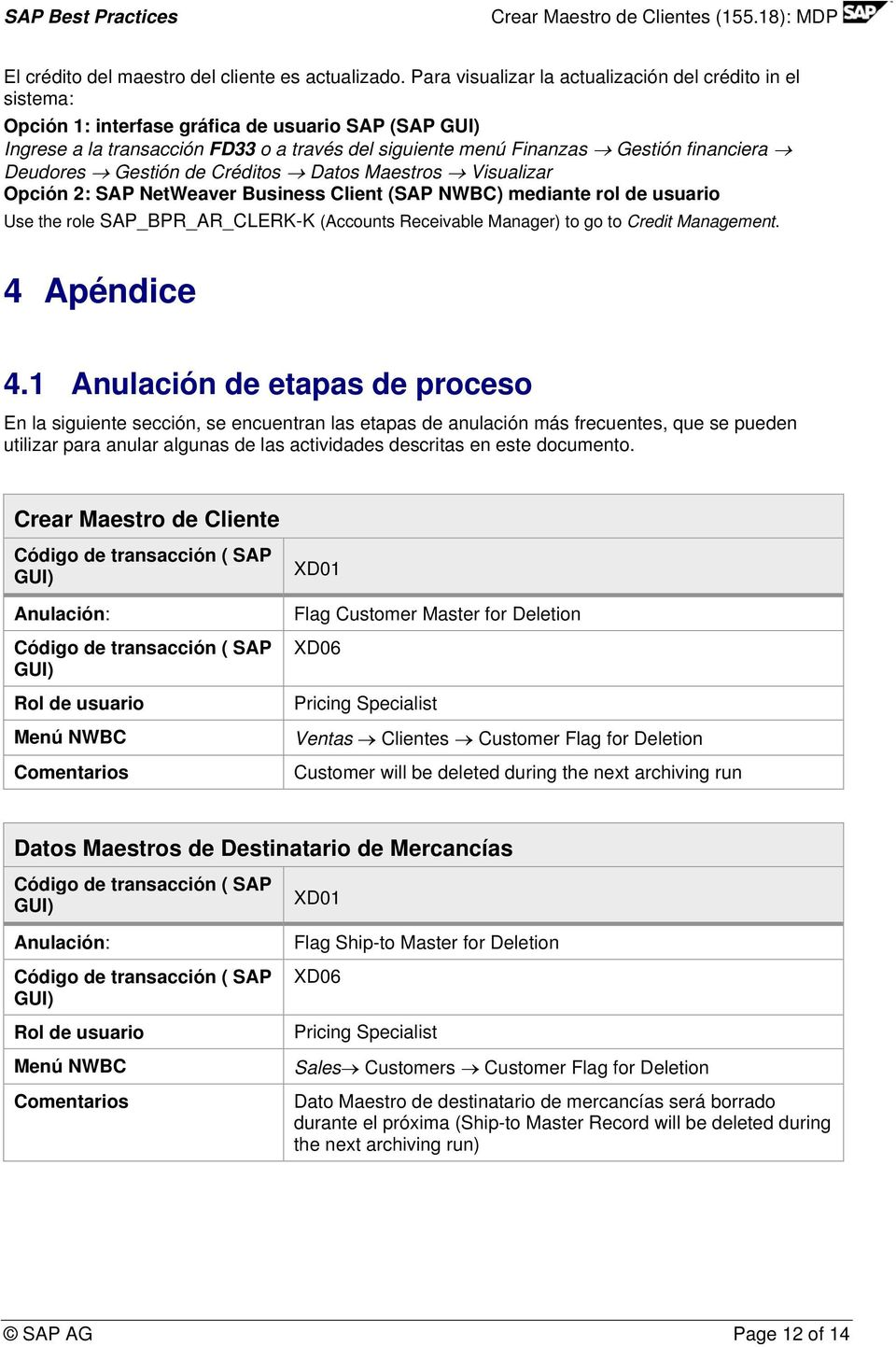 Deudores Gestión de Créditos Datos Maestros Visualizar Opción 2: SAP NetWeaver Business Client (SAP NWBC) mediante rol de usuario Use the role SAP_BPR_AR_CLERK-K (Accounts Receivable Manager) to go