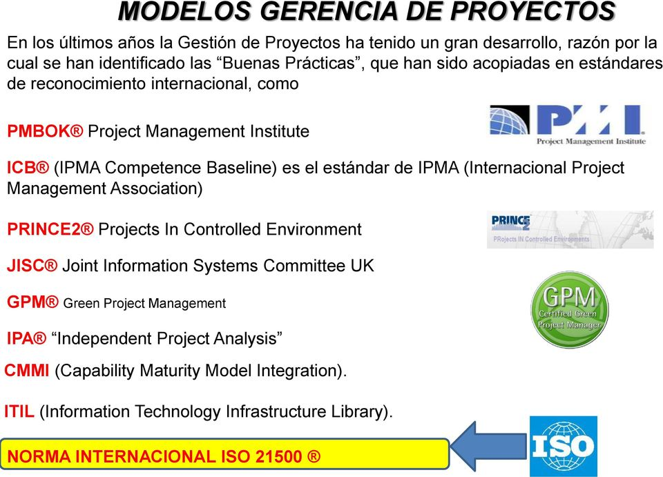 (Internacional Project Management Association) PRINCE2 Projects In Controlled Environment JISC Joint Information Systems Committee UK GPM Green Project Management