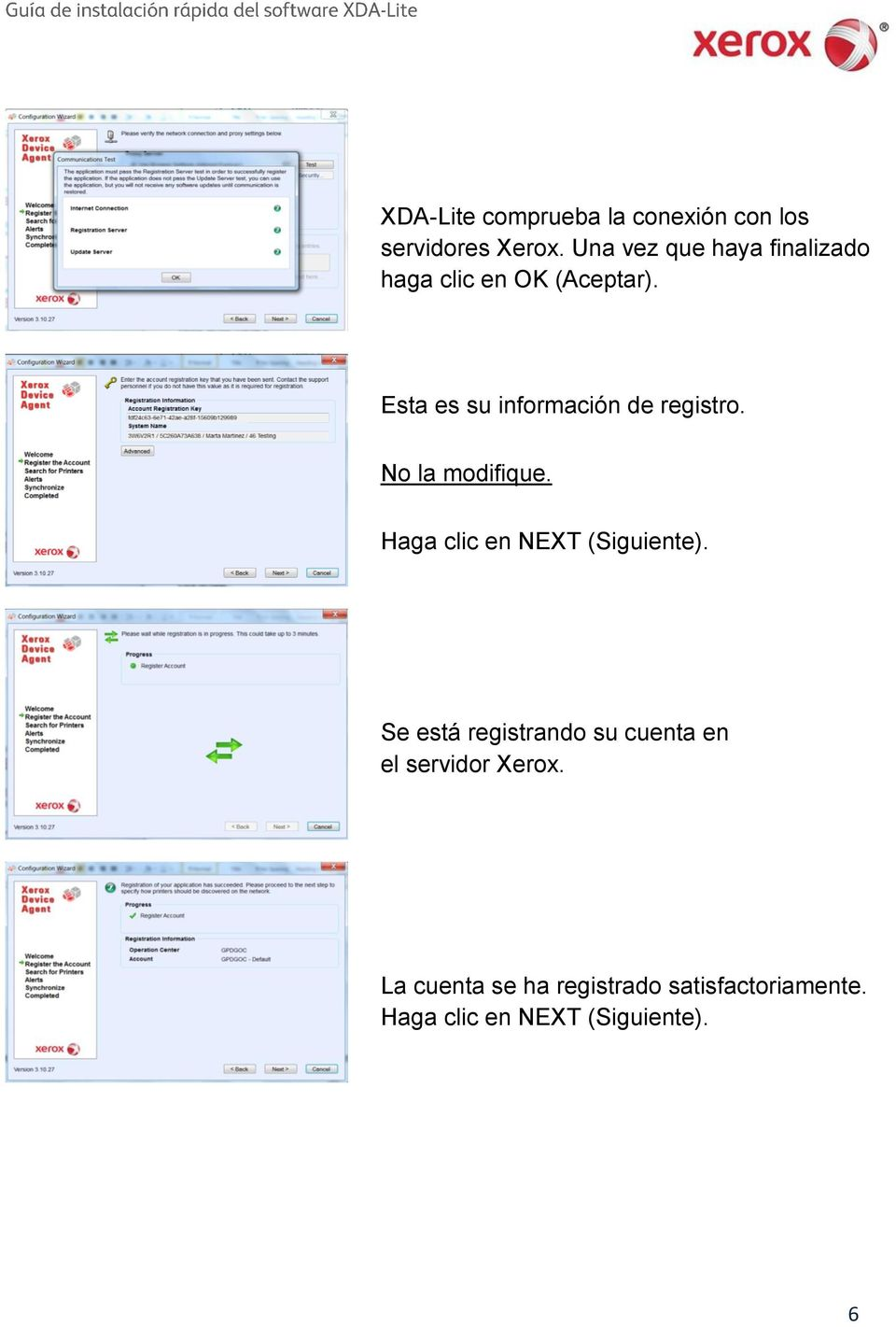 Esta es su información de registro. No la modifique.