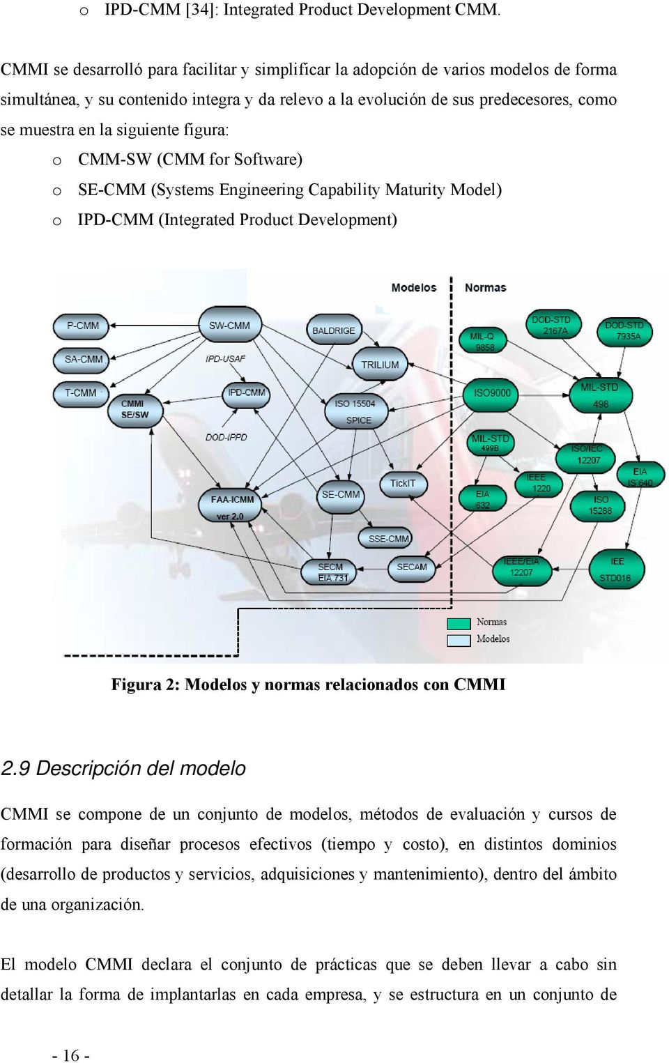 siguiente figura: o CMM-SW (CMM for Software) o SE-CMM (Systems Engineering Capability Maturity Model) o IPD-CMM (Integrated Product Development) Figura 2: Modelos y normas relacionados con CMMI 2.