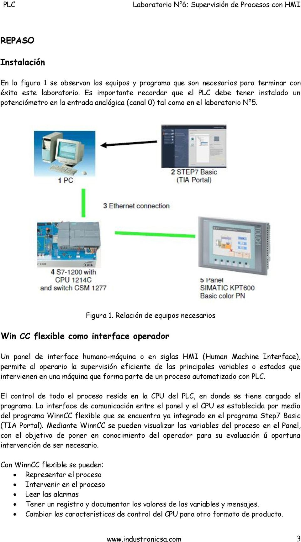 Relación de equipos necesarios Win CC flexible como interface operador Un panel de interface humano-máquina o en siglas HMI (Human Machine Interface), permite al operario la supervisión eficiente de