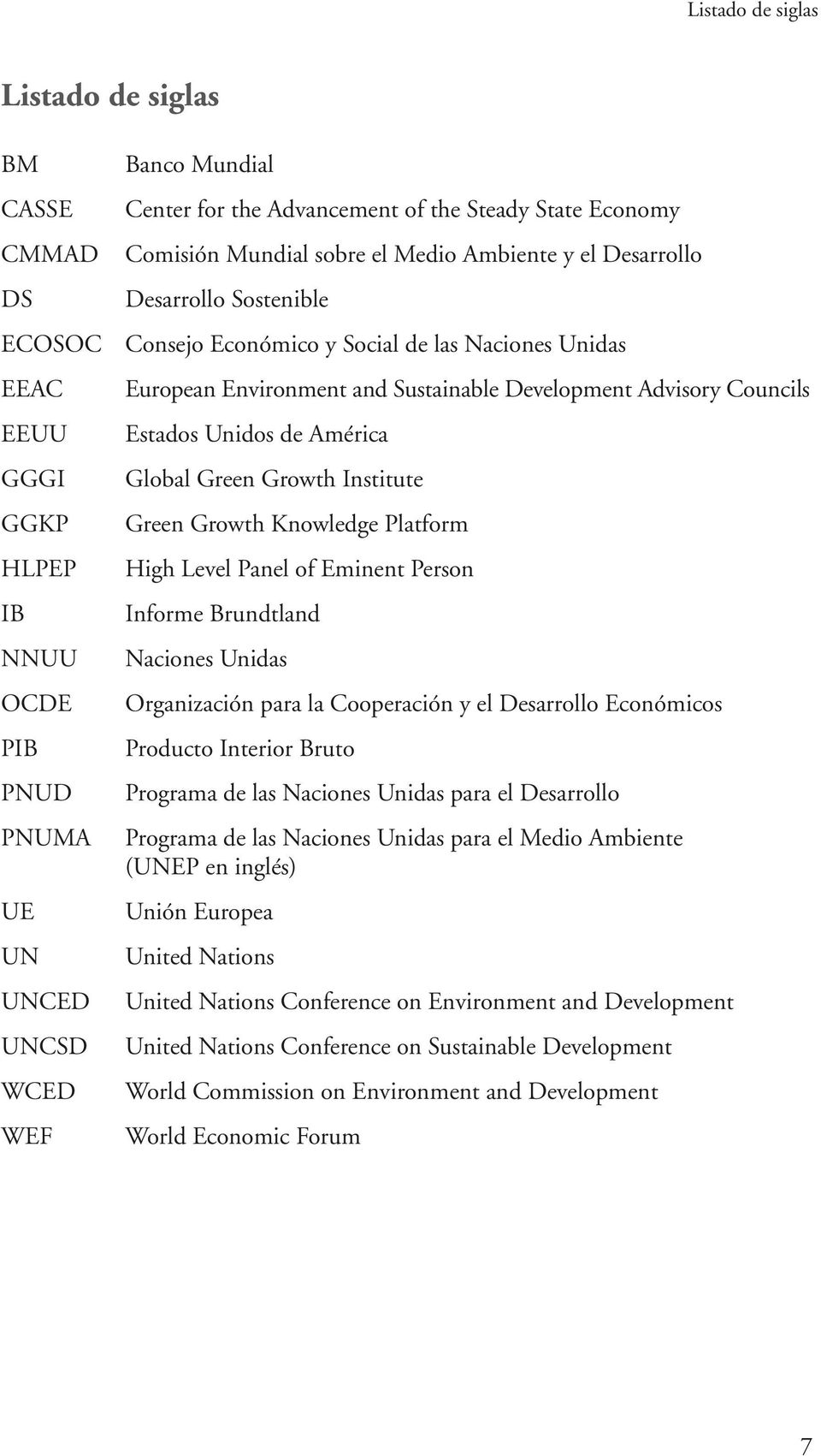 Advisory Councils Estados Unidos de América Global Green Growth Institute Green Growth Knowledge Platform High Level Panel of Eminent Person Informe Brundtland Naciones Unidas Organización para la