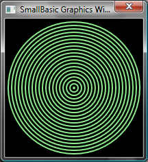 "GraphicsWindow.BackgroundColor = ""Black"" GraphicsWindow.PenColor = ""LightGreen"" 'Verde claro GraphicsWindow.Width = 200 GraphicsWindow.Height = 200 For i = 1 To 100 Step 5 GraphicsWindow."
