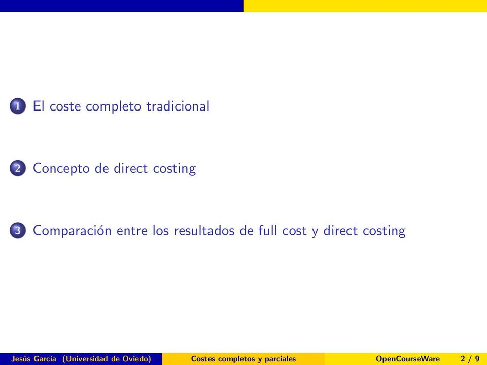 cost y direct costing Jesús García (Universidad de