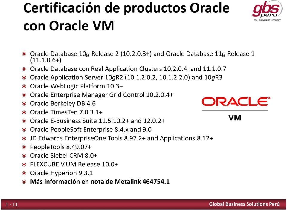 6 Oracle TimesTen 7.0.3.1+ Oracle E-Business Suite 11.5.10.2+ and 12.0.2+ Oracle PeopleSoft Enterprise 8.4.x and 9.0 JD Edwards EnterpriseOne Tools 8.97.