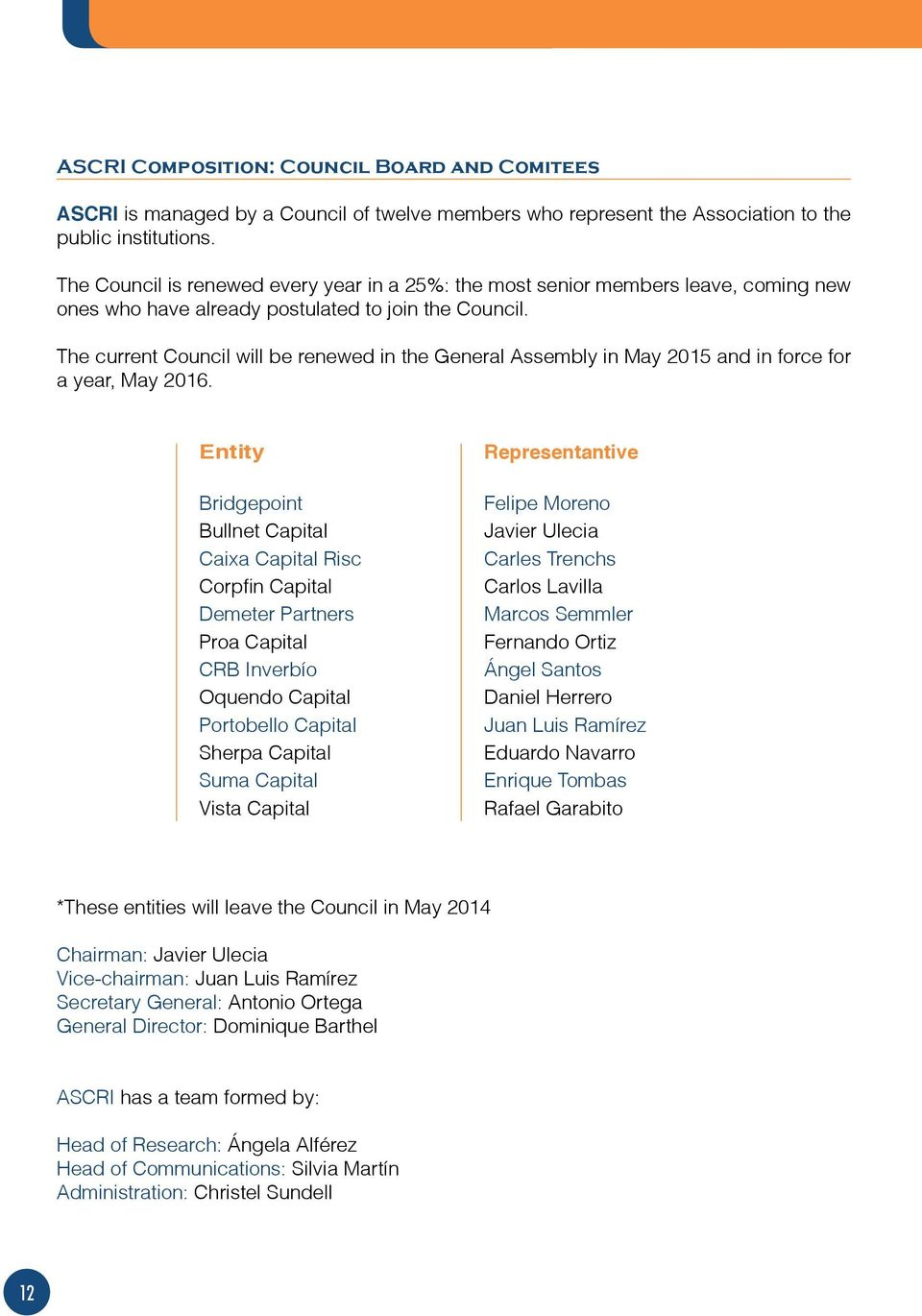 The current Council will be renewed in the General Assembly in May 2015 and in force for a year, May 2016.