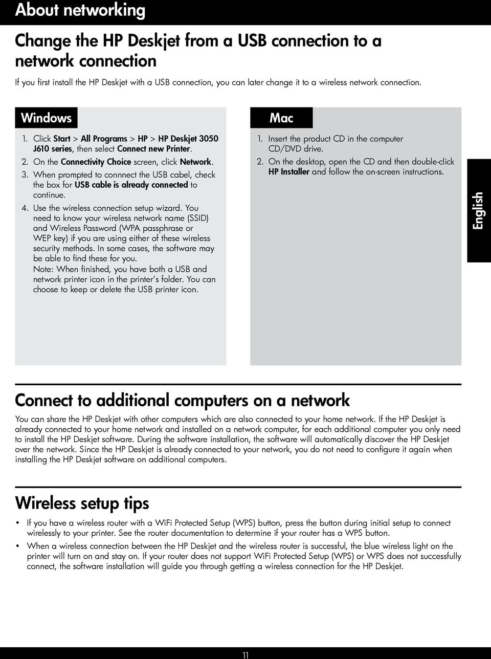 4. Use the wireless connection setup wizard.