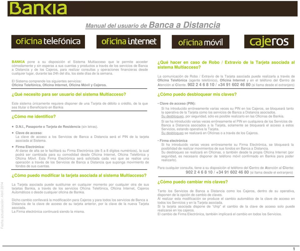 Manual del usuario de banca a distancia pdf for Bankia oficina de internet